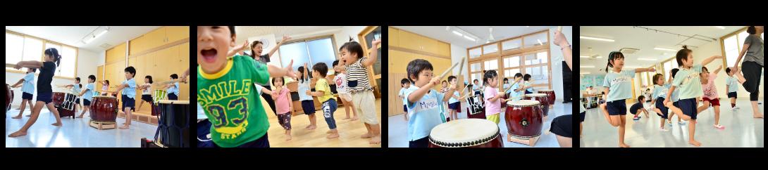 みんなの劇場保育園の園児のダンスと太鼓